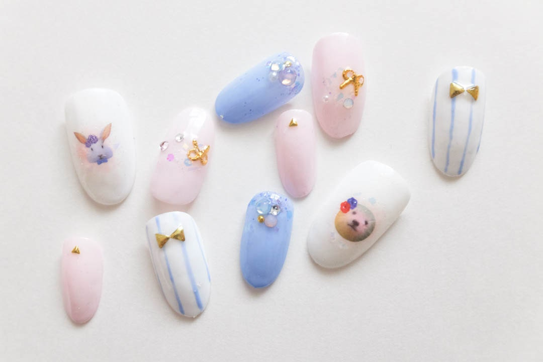Cute Pastel Bunny Animal Japanese Nails, Cotton Candy, Press on ...