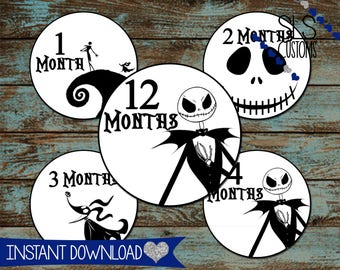 Nightmare Before Christmas Inspired Printable Monthly Milestone Stickers for Baby's First Year! INSTANT DOWNLOAD! 4inch Rounds