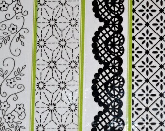 Black and white washi tape sample pack of 8, floral, lace,  script,geometric patterns for bullet journals