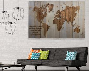 Wood Wall Art, Wood Art, Map Of the World, Reclaimed Wood, Travel Map, World Map, Map Art, Panel Art, Large Map Art, Handmade Wood