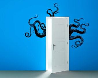 Octopus Tentacles Removable Vinyl Wall Decor |  octopus wall decal octopus art door hugger door decor nautical squid wall art