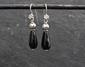Black Onyx Earrings, Silver and Onyx Drop Earrings, Faceted Black Onyx, Gemstone Earrings, Dangle Earrings, Sterling Silver