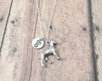 Boxer dog initial necklace - boxer jewelry, dog breed jewelry, boxer dog necklace, boxer dog gift, silver boxer pendant, boxer necklace