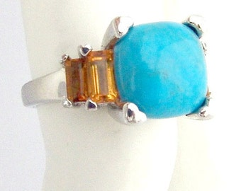 SaLe! sALe! Citrine Turquoise Ring Sterling Silver