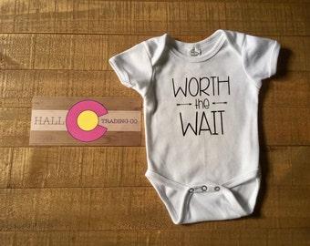 Worth The Wait Infant Bodysuit - Rainbow Baby Creeper - Worth The Wait Outfit - Worth The Wait Infant One Piece - Miracle Baby Bodysuit