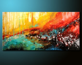 Original Modern Abstract Painting 48x24 Canvas Colorful Acrylic Urban Fine Art by FARIAS