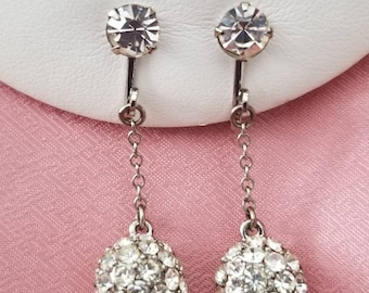 Vintage Rhinestone Drop Globe Earrings