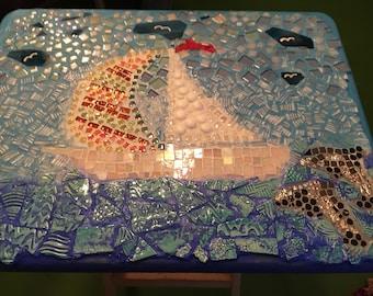 Sailboat Mosaic TV Table
