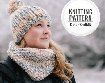 Knitting Pattern // Knit Cowl // Womens Scarf Pattern PDF Cowl // Easy Beginner Cowl Scarf // Summit Cowl