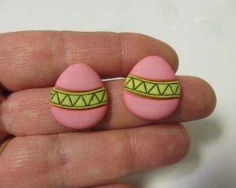 FREE SHIPPING! Pink Easter Egg Stud Earrings-Easter Earrings