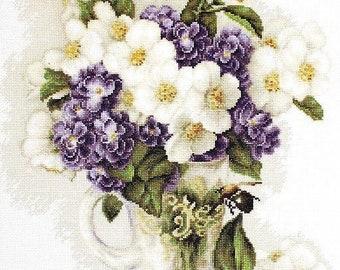 Vase with jasmine SB512 - Cross Stitch Kit by Luca-s