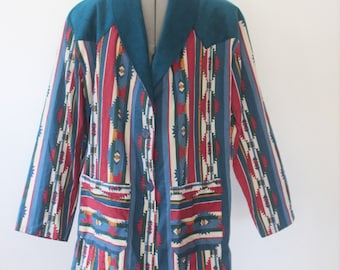 Just Yokin'- 1980s Southwestern/Tribal/Country Sassa Blazer- Size Small