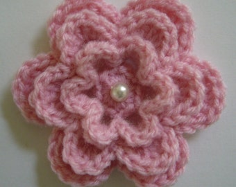 Pink Crocheted Flower with Pearl - Acrylic Yarn - Pink Crocheted Flower Embellishment - Pink Crocheted Flowr Applique