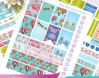 Hot air Balloon, HAPPY PLANNER Weekly stickers printable, Hot air Balloon Happy planner weekly Kit, Vintage flowers happy planner, Cut Files