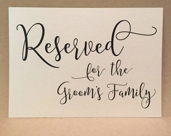 Reserved Wedding Reception Sign Groom's Family Table Card - Wedding Ceremony Signage