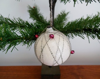 Wire wrapped White Christmas Ornament with Mica and Little Red Glass Balls