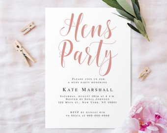 Hen party invite etsy hens party invitation template hens party invite editable bridal shower rose gold bridal party invitation rose stopboris Image collections