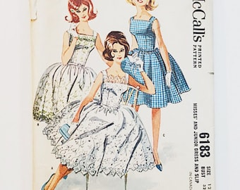 60s Dress Pattern   Simplicity 6183 Misses Party Dress Pattern   60s Sewing Pattern