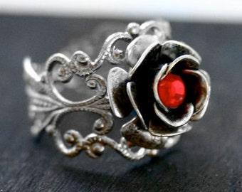 Red Crystal Rose Ring