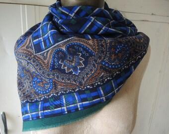 Vintage Jim Renoir scarf plaid paisley blue green 30 x 30 inches