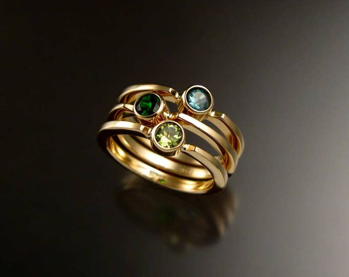 Stackable Mothers ring set of Three 14k Yellow Gold natural Birthstone rings Made to order in your size