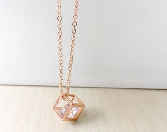 Rose Gold 3D square cube Necklace