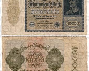 German Mark / Currency Money Bill / 13 x 14.5 / Antique Digital Paper / Collage Ephemera / Scrapbooking Supply / Instant Download