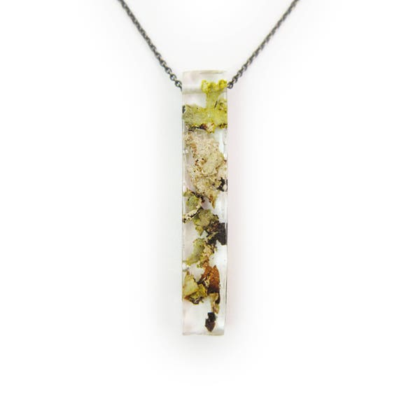 Large Long Lichen Resin Necklace • Nature Necklace • Eco Resin Terrarium Necklace • Terrarium Jewlery
