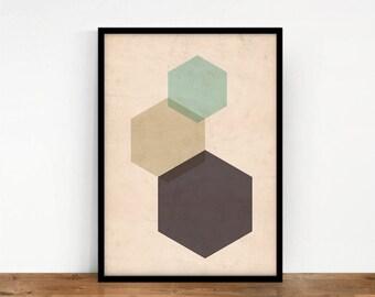 Hexagon Wall Art, Geometric Digital Art, Coral Hexagon Print, Geometric Wall Decor, Abstract Art, Printable Art, Pastels Digital Print