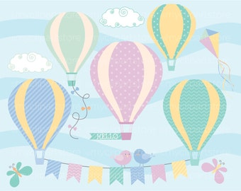 Clipart - Hot Air Balloons / Up, up and away! - Digital Clip Art (Instant Download)