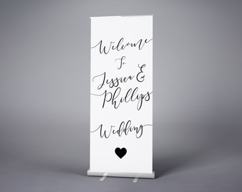 Custom Wedding Banner, Wedding Roller Banner, Pull Up Stand, Wedding Welcome Sign, Personalised Wedding