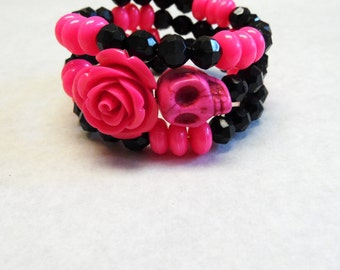 Day of The Dead Bracelet Sugar Skull Jewelry Black Hot Pink Rose