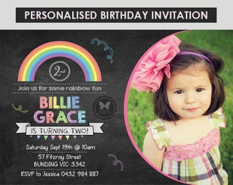 Printable Chalkboard Rainbow Birthday Invitation, Chalkboard Rainbow Invitation, 1st 2nd 3rd 4th 5th 6th Birthday, Birthday Invitation