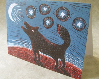 5 x 7 Notecard - A032 MOONLIGHT // art card / illustration card / animal card / dog / wolf / howling / night / stars / blue / linocut / moon