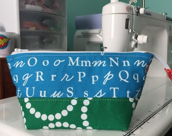 Small Open Wide Pouch in A is for Alphabet   Zippered Pouch   Cosmetic Bag