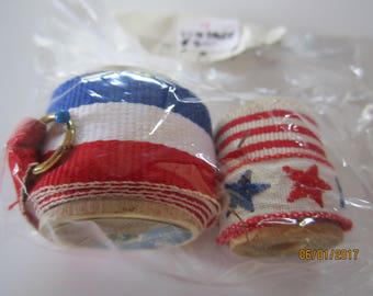Vintage red, white and blue ribbons