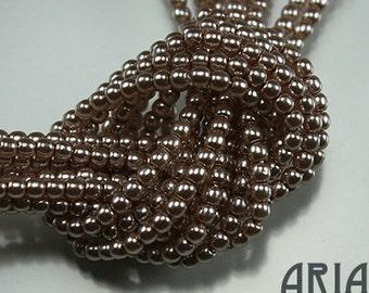 BEIGE: 2mm Czech Glass Pearl Beads (150 beads per strand)