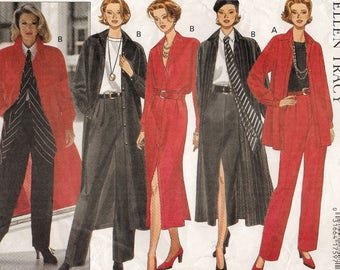 "A Wardrobe Pattern for Women: Shirt/Shirtdress, Slim Skirt, Tapered Pants & Scarf - Uncut - Sizes 12-14-16, Bust 34"" - 38"" ~ Butterick 3079"