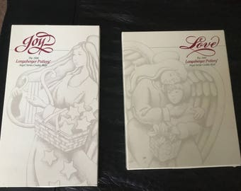 "Longaberger Pottery- Angel series  ""JOY & LOVE"" cookie molds"