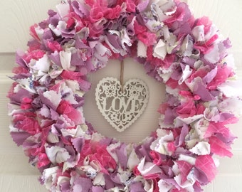 Gorgeous Fabric Rag Wreath in Pink/Purple Colours with Wooden Hanging Heart
