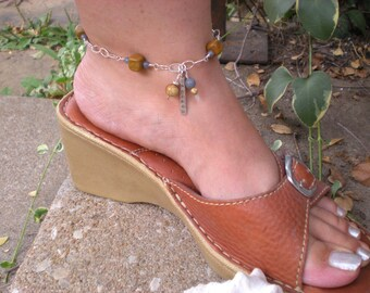 Pictures in the sand anklet, sterling silver ankle bracelet, wood jasper, blue aventurine, unique jewelry by Grey Girl Designs on Etsy
