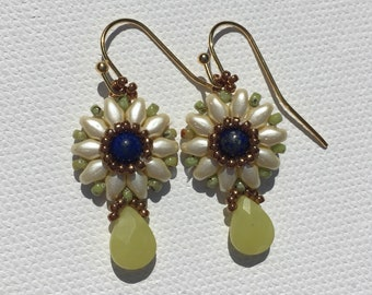 Lapis and Chartreuse Floral Drop Earrings