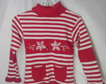 Vintage Girls Embroidery Flower beads embellishments Long Sleeve Turtleneck Sweater