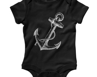 Baby Anchor Romper - Infant One Piece - NB 6m 12m 18m 24m - Anchor Gift, Hipster Baby, Nautical Baby, Marine Baby, Navy Baby, Pirate Baby