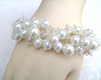 White Pearl Beaded Bracelet, Bridal Bracelet, Bridal Jewelry, Wedding Jewelry, Bridesmaid Bracelet, Cluster Bracelet, White Pearl Jewelry