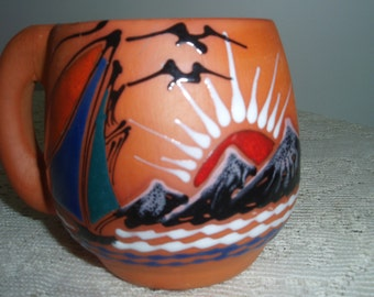 Hand Painted Terra Cotta Mug with Sunset and Sailboat, Mountain Sunset and Sailboat Coffee cup made of terracotta