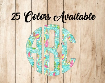 Lilly Inspired Round Monogram Vinyl Decal - Southern Preppy Monogrammed Lilly Pulitzer