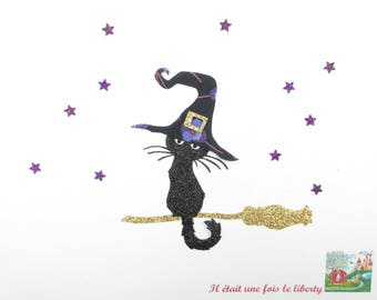 Applied fusible liberty fabric Halloween witch cat Ros fabric & purple glitter patch iron on applique liberty cat pattern