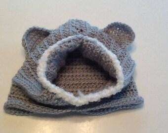 Crocheted bear cowl hood for 12-36 months
