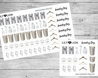 Laundry Planner Stickers - Washing Machine - Iron - Basket - Cleaning - EC - Plum Paper - Erin Condren - Happy Planner